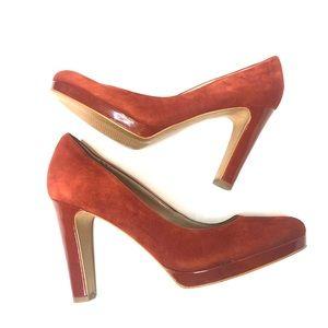 Franco Sarto Balada Rust Orange Suede Block Heels